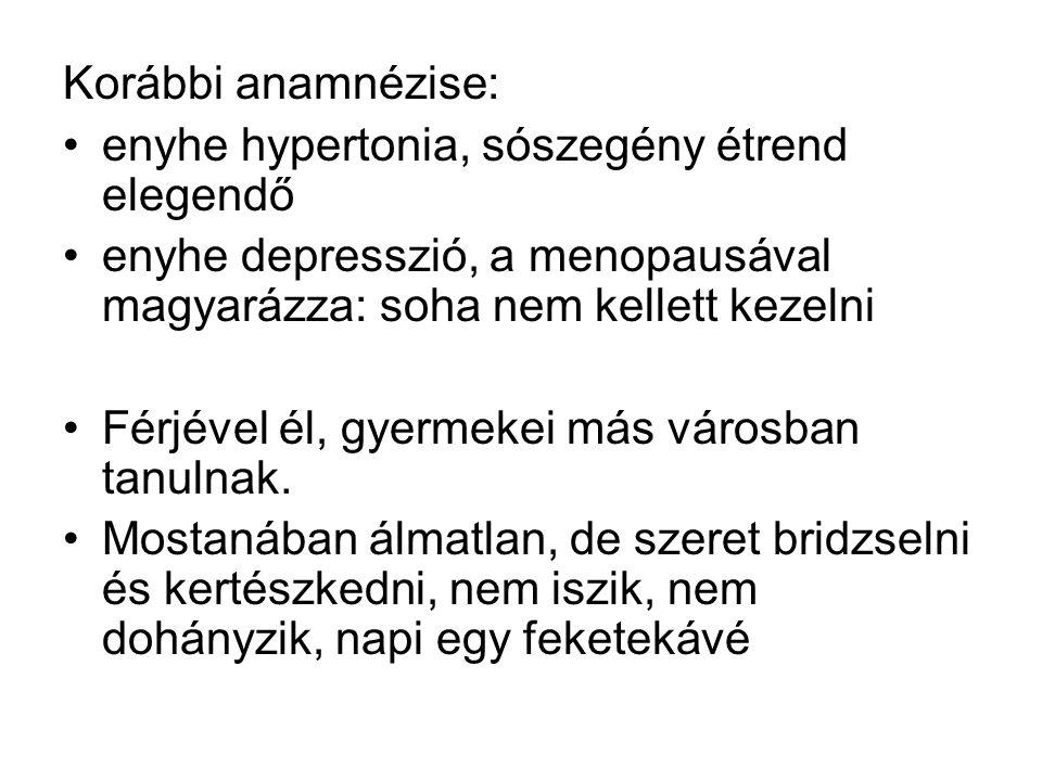 Korábbi anamnézise: enyhe hypertonia, sószegény étrend elegendő. enyhe depresszió, a menopausával magyarázza: soha nem kellett kezelni.