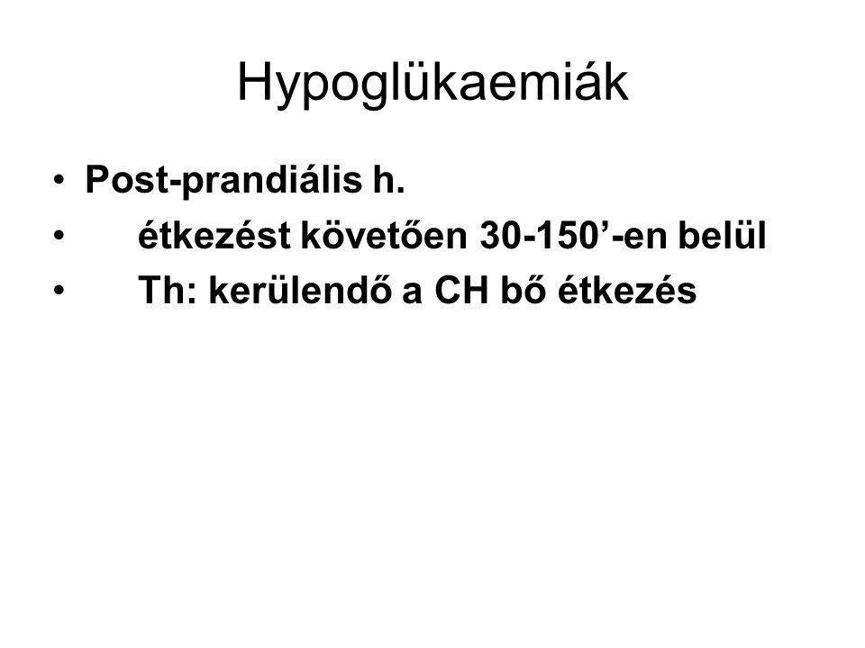 Hypoglükaemiák Post-prandiális h. étkezést követően 30-150'-en belül