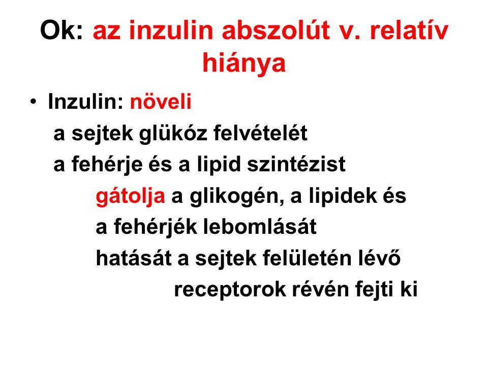Ok: az inzulin abszolút v. relatív hiánya