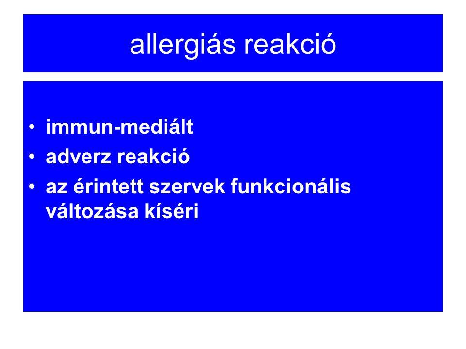 allergiás reakció immun-mediált adverz reakció