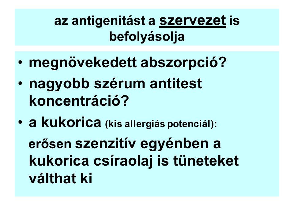 az antigenitást a szervezet is befolyásolja