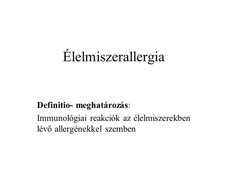 Élelmiszerallergia Definitio- meghatározás: