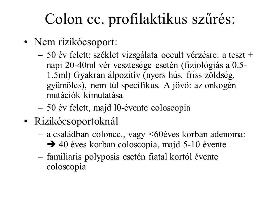 Colon cc. profilaktikus szűrés:
