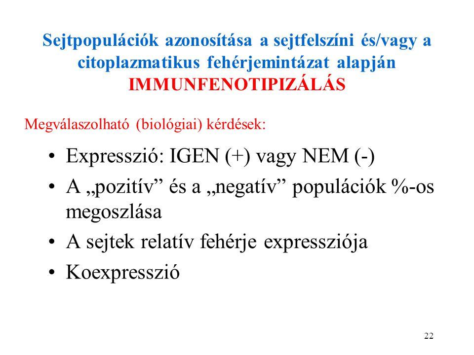 Expresszió: IGEN (+) vagy NEM (-)