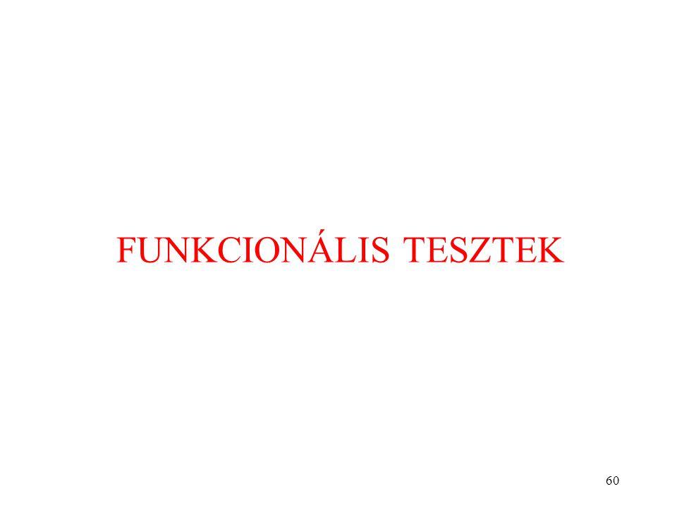 FUNKCIONÁLIS TESZTEK
