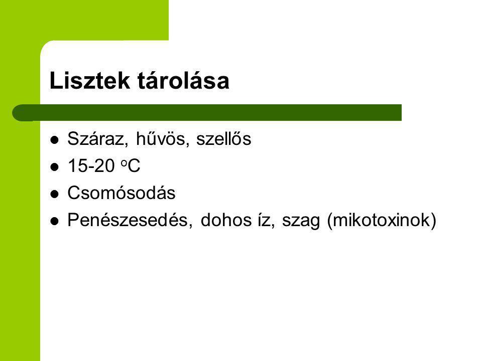 Lisztek tárolása Száraz, hűvös, szellős 15-20 oC Csomósodás