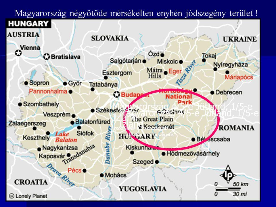 Magyarország négyötöde mérsékelten enyhén jódszegény terület !