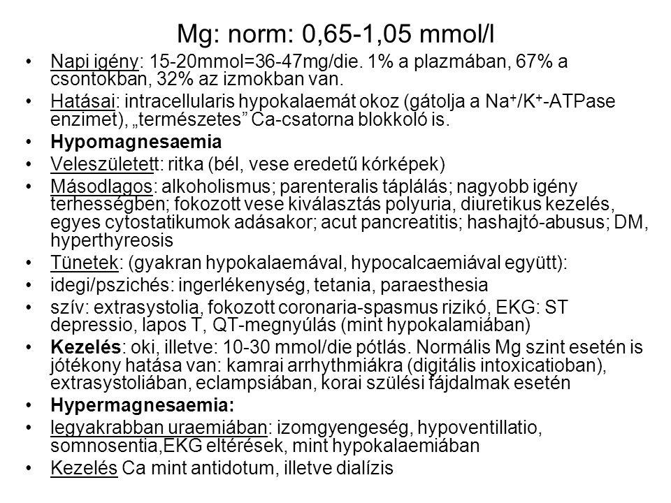 Mg: norm: 0,65-1,05 mmol/l Napi igény: 15-20mmol=36-47mg/die. 1% a plazmában, 67% a csontokban, 32% az izmokban van.