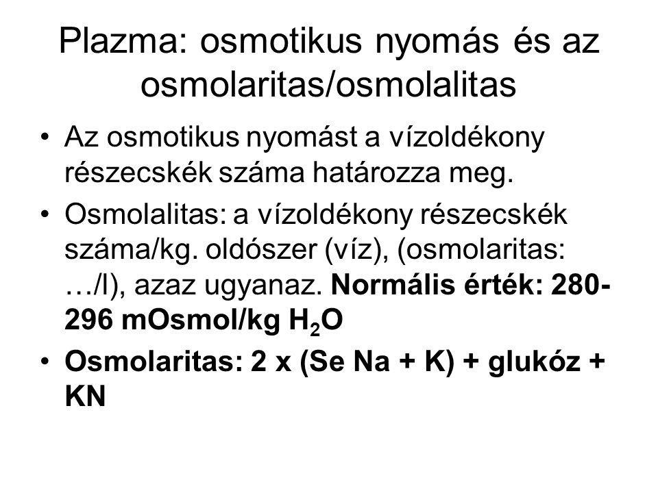 Plazma: osmotikus nyomás és az osmolaritas/osmolalitas