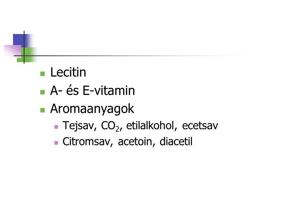 Lecitin A- és E-vitamin Aromaanyagok Tejsav, CO2, etilalkohol, ecetsav