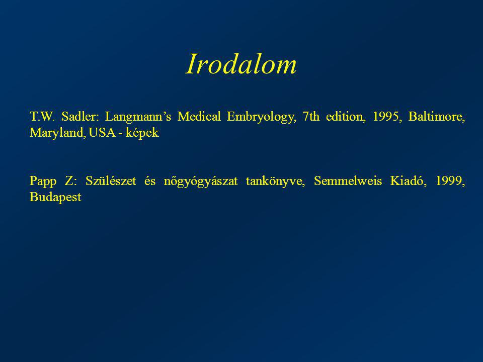 Irodalom T.W. Sadler: Langmann's Medical Embryology, 7th edition, 1995, Baltimore, Maryland, USA - képek.