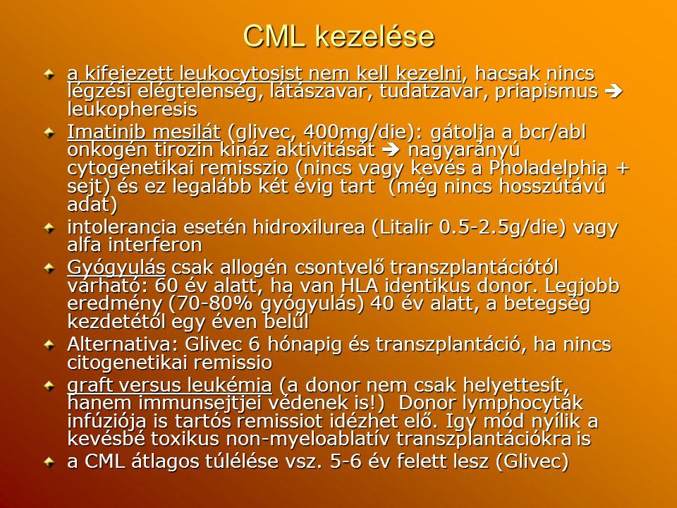 CML kezelése a kifejezett leukocytosist nem kell kezelni, hacsak nincs légzési elégtelenség, látászavar, tudatzavar, priapismus  leukopheresis.