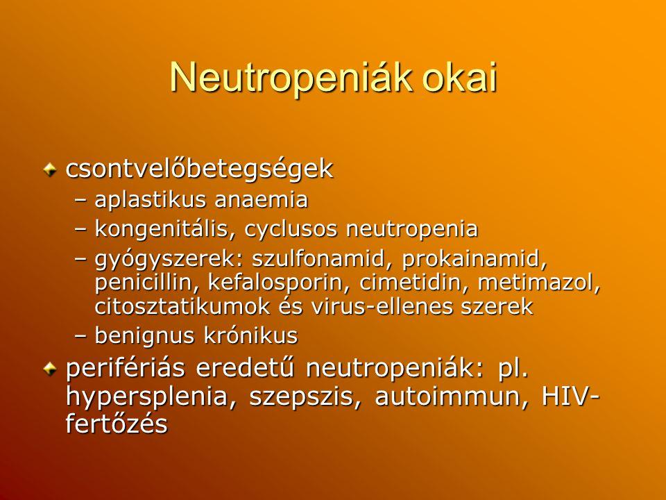 Neutropeniák okai csontvelőbetegségek