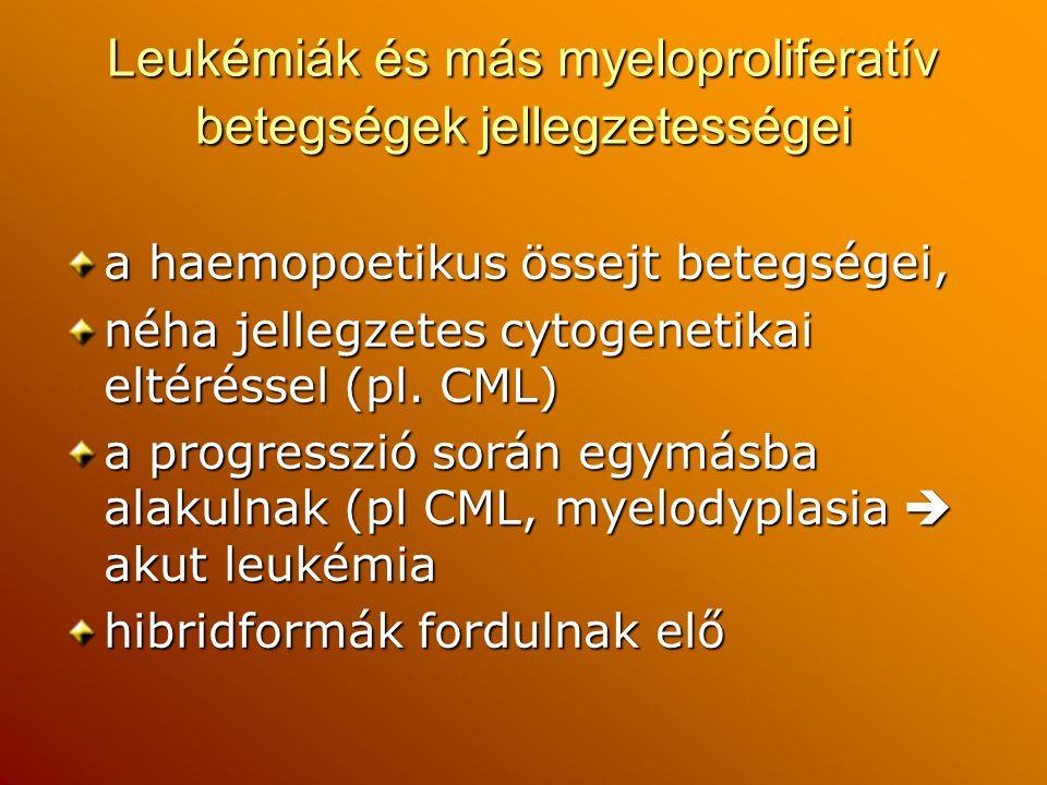 Leukémiák és más myeloproliferatív betegségek jellegzetességei