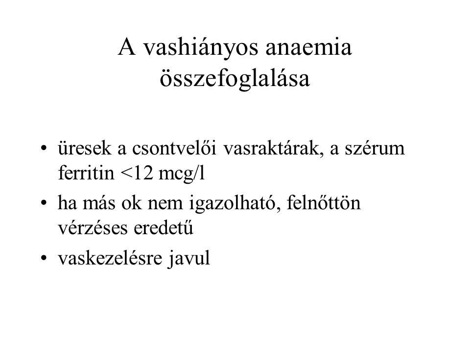A vashiányos anaemia összefoglalása