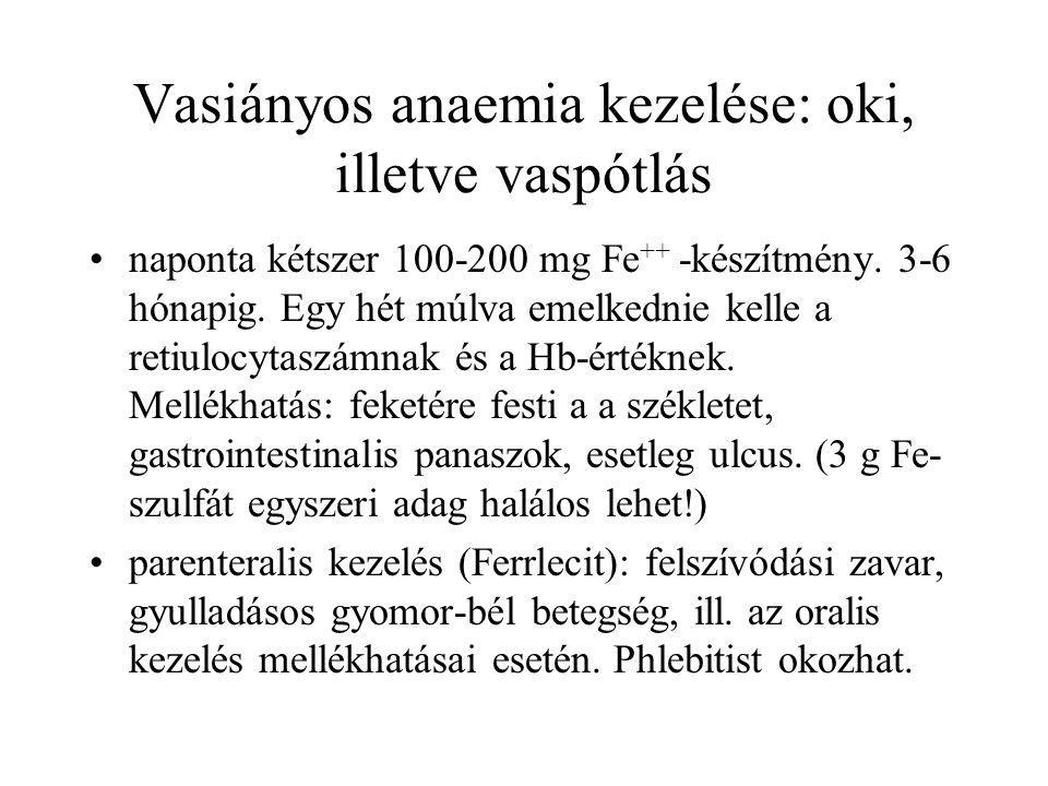 Vasiányos anaemia kezelése: oki, illetve vaspótlás