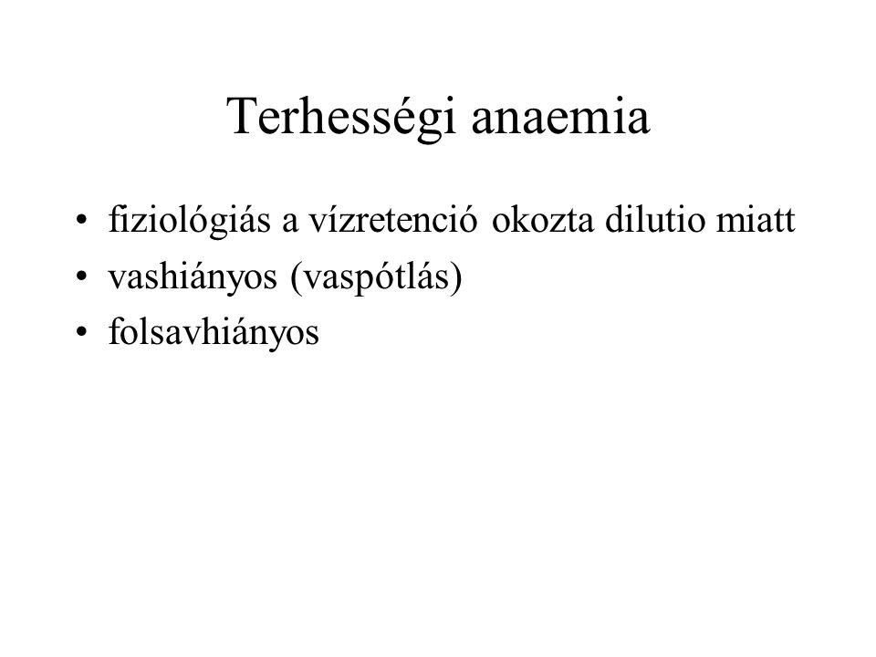Terhességi anaemia fiziológiás a vízretenció okozta dilutio miatt