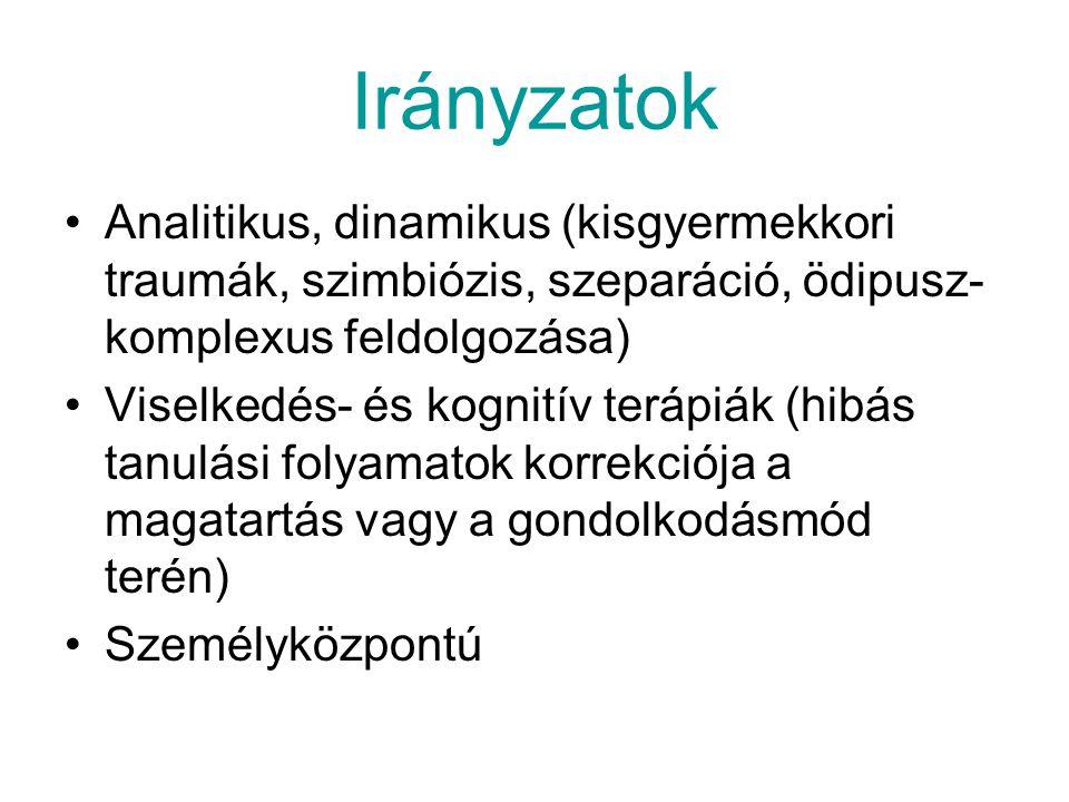 Irányzatok Analitikus, dinamikus (kisgyermekkori traumák, szimbiózis, szeparáció, ödipusz-komplexus feldolgozása)