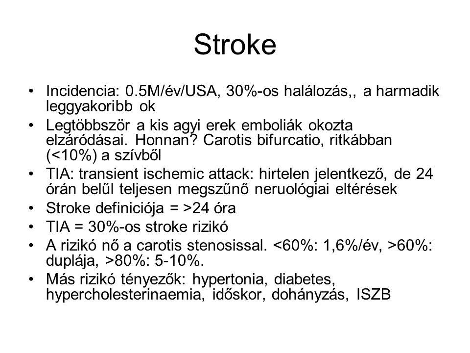 Stroke Incidencia: 0.5M/év/USA, 30%-os halálozás,, a harmadik leggyakoribb ok.