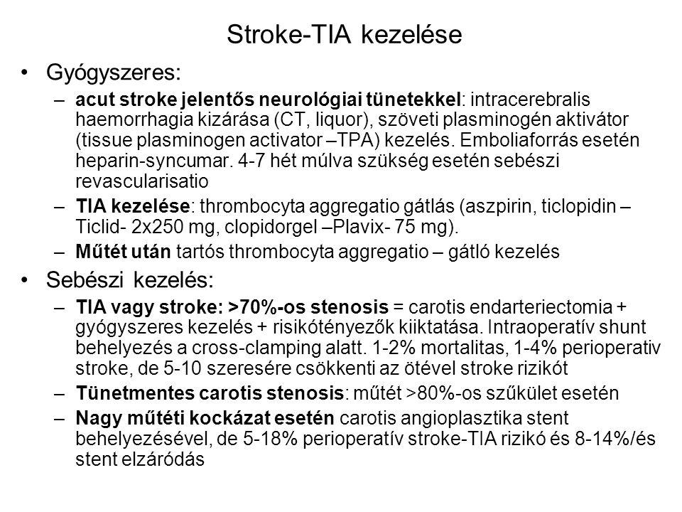 Stroke-TIA kezelése Gyógyszeres: Sebészi kezelés: