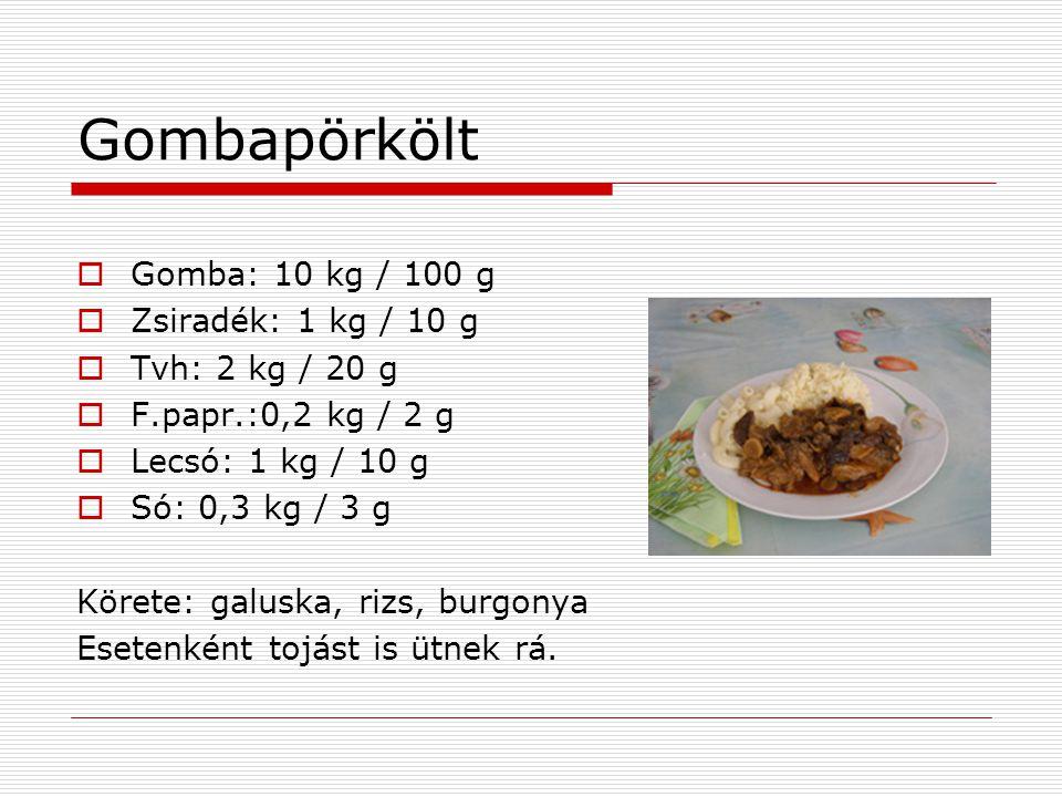 Gombapörkölt Gomba: 10 kg / 100 g Zsiradék: 1 kg / 10 g
