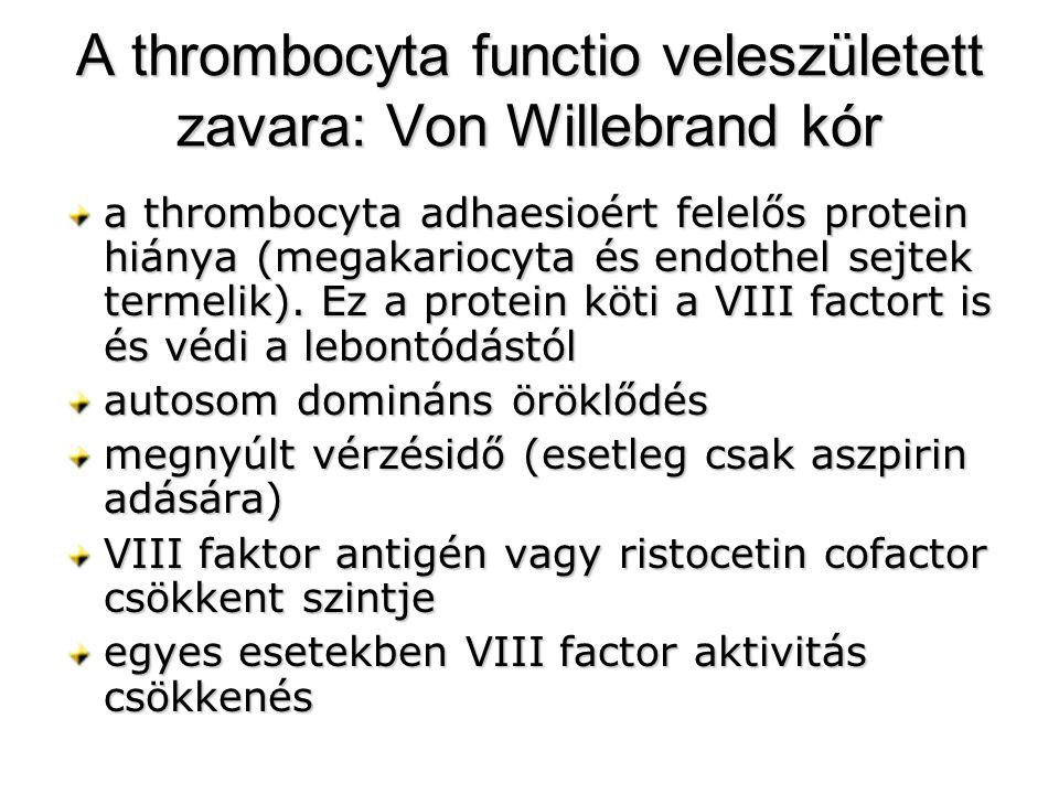A thrombocyta functio veleszületett zavara: Von Willebrand kór