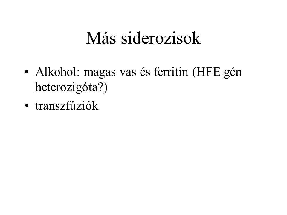 Más siderozisok Alkohol: magas vas és ferritin (HFE gén heterozigóta )