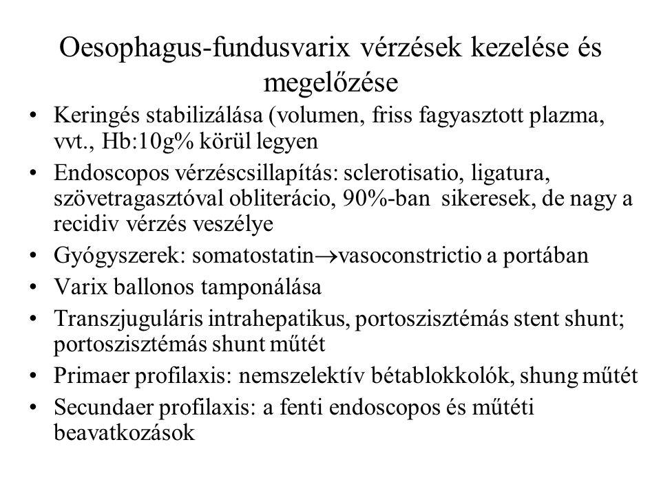Oesophagus-fundusvarix vérzések kezelése és megelőzése