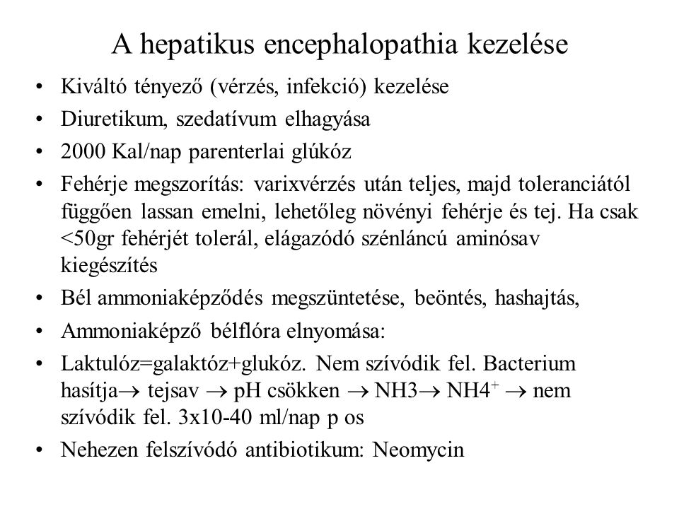 A hepatikus encephalopathia kezelése