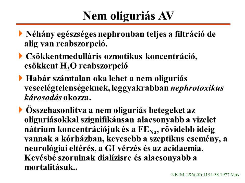 Nem oliguriás AV Néhány egészséges nephronban teljes a filtráció de alig van reabszorpció.