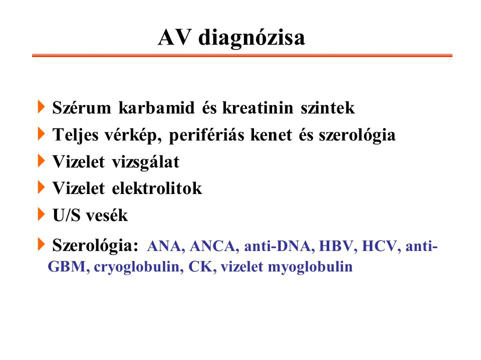 AV diagnózisa Szérum karbamid és kreatinin szintek