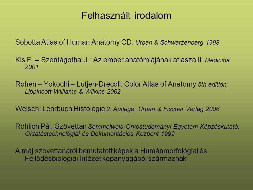 Felhasznált irodalom Sobotta Atlas of Human Anatomy CD. Urban & Schwarzenberg 1998.