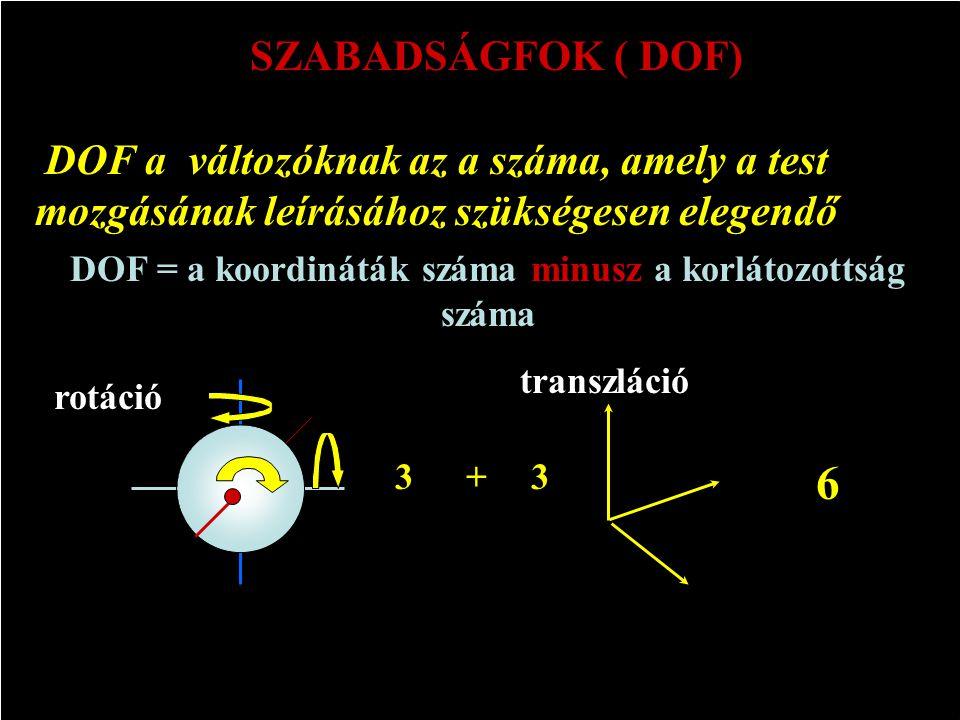 DOF = a koordináták száma minusz a korlátozottság száma