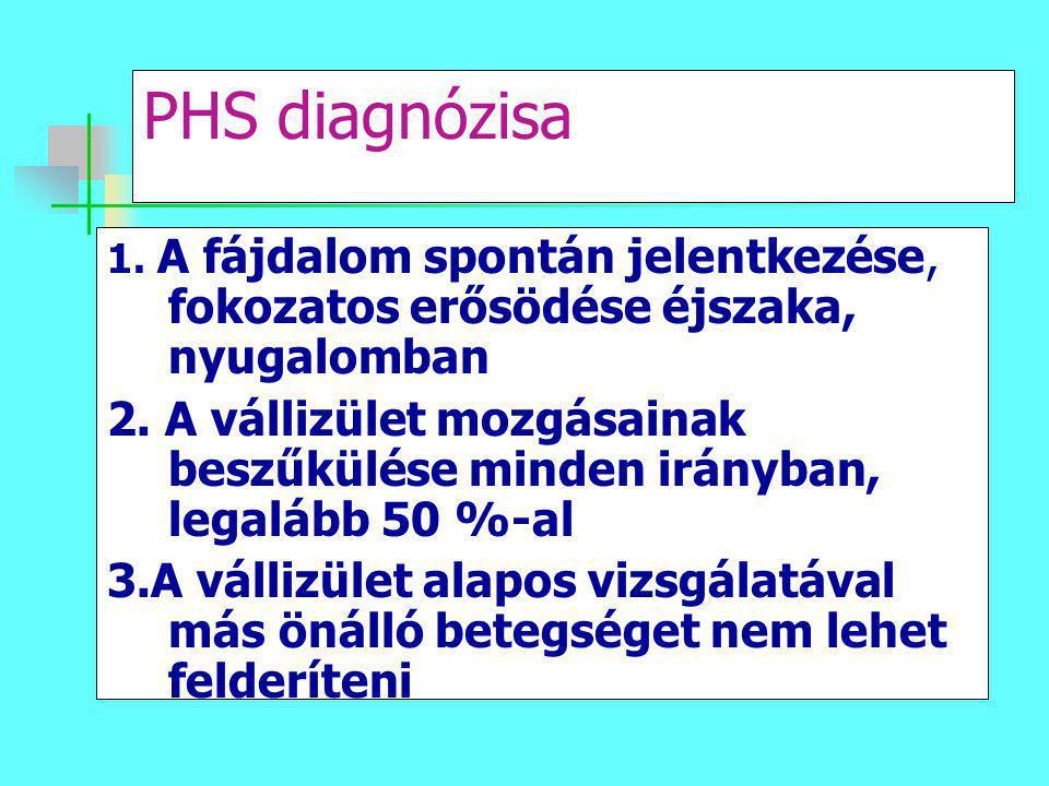PHS diagnózisa 1. A fájdalom spontán jelentkezése, fokozatos erősödése éjszaka, nyugalomban.