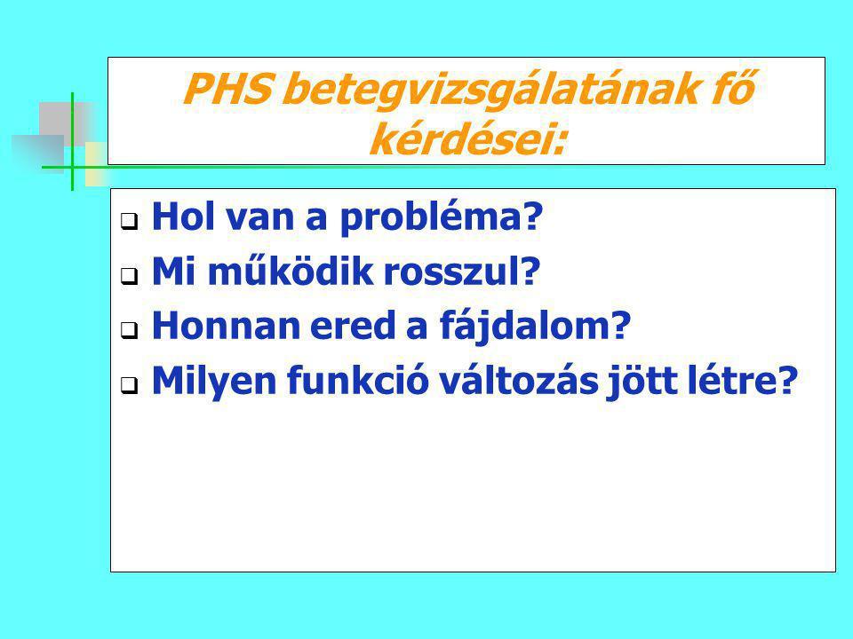 PHS betegvizsgálatának fő kérdései: