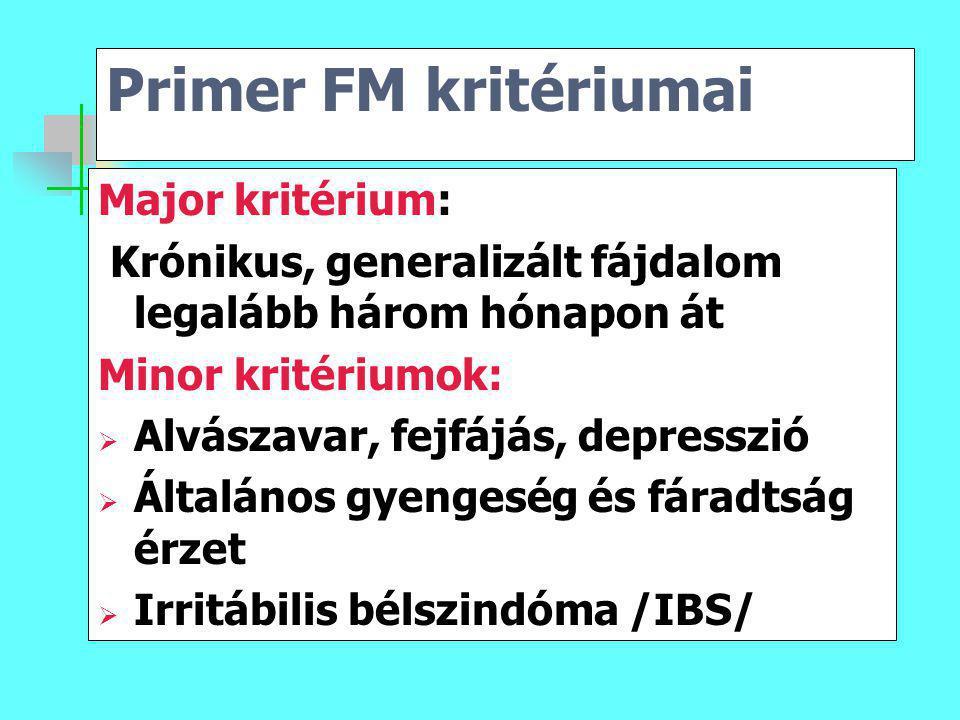 Primer FM kritériumai Major kritérium: