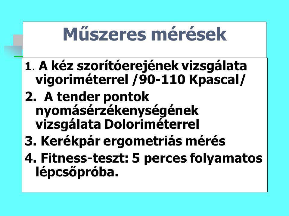 Műszeres mérések 1. A kéz szorítóerejének vizsgálata vigoriméterrel /90-110 Kpascal/