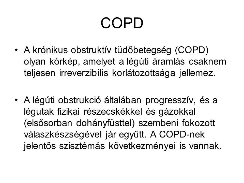 COPD A krónikus obstruktív tüdőbetegség (COPD) olyan kórkép, amelyet a légúti áramlás csaknem teljesen irreverzibilis korlátozottsága jellemez.