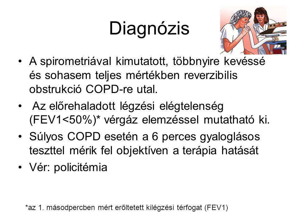 Diagnózis A spirometriával kimutatott, többnyire kevéssé és sohasem teljes mértékben reverzibilis obstrukció COPD-re utal.
