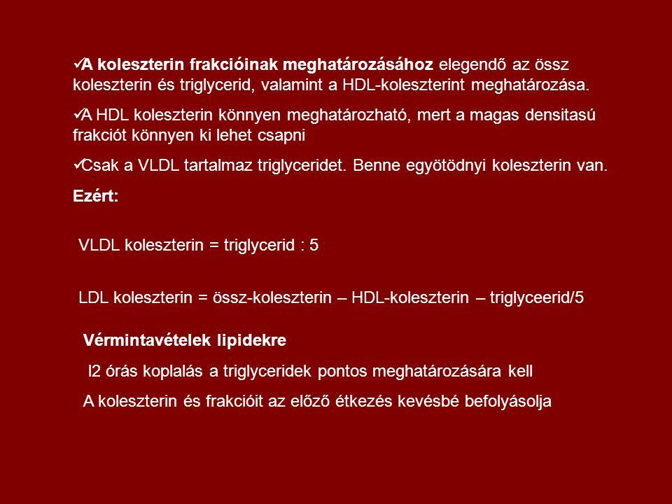 A koleszterin frakcióinak meghatározásához elegendő az össz koleszterin és triglycerid, valamint a HDL-koleszterint meghatározása.