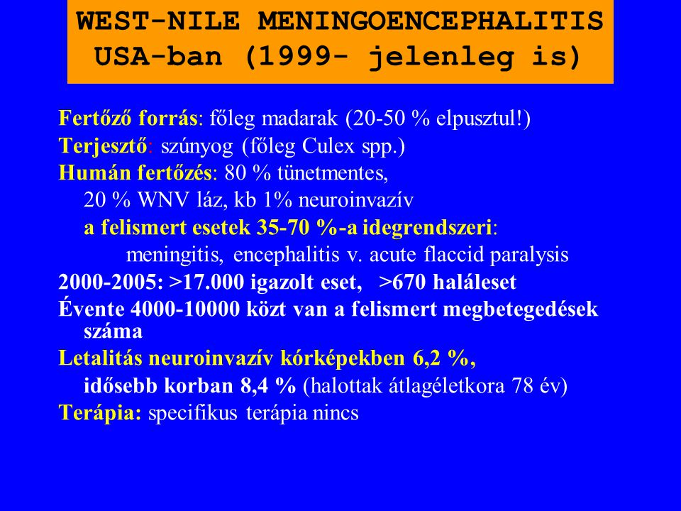 WEST-NILE MENINGOENCEPHALITIS USA-ban (1999- jelenleg is)