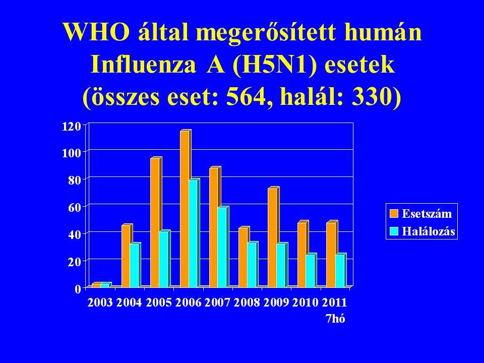 WHO által megerősített humán Influenza A (H5N1) esetek (összes eset: 564, halál: 330)