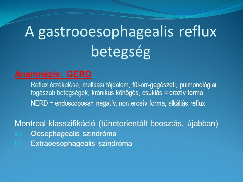 A gastrooesophagealis reflux betegség
