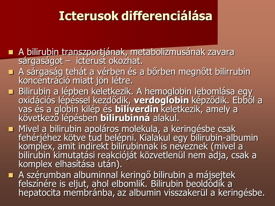Icterusok differenciálása