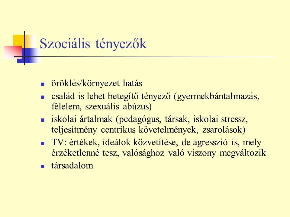 Szociális tényezők öröklés/környezet hatás
