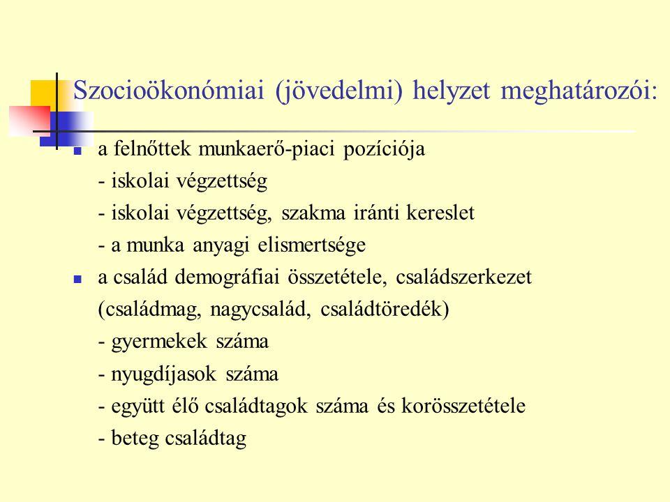 Szocioökonómiai (jövedelmi) helyzet meghatározói: /Spéder, 1998/