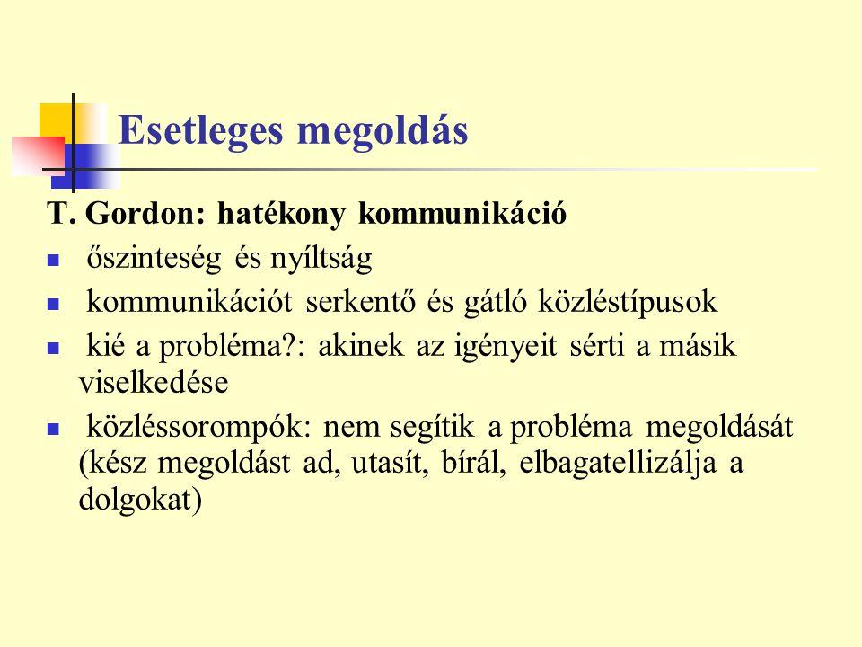 Esetleges megoldás T. Gordon: hatékony kommunikáció