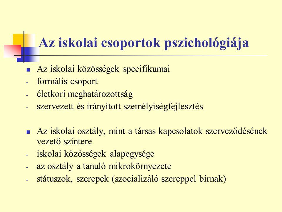 Az iskolai csoportok pszichológiája