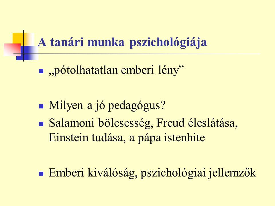 A tanári munka pszichológiája