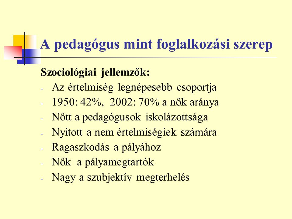 A pedagógus mint foglalkozási szerep